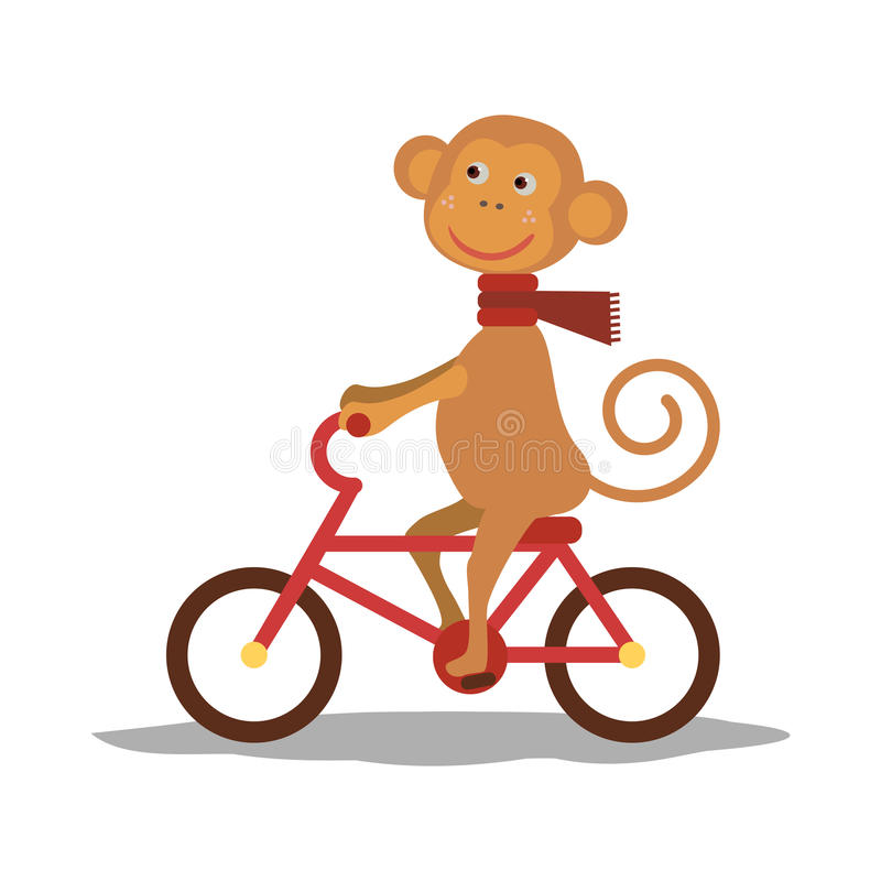 Netter Affe mit Schal auf Transport Vektor lizenzfreie abbildung