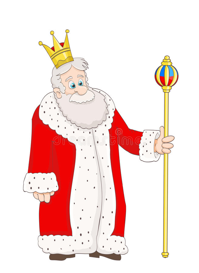 Netter alter König der Karikatur auf Weiß stock abbildung