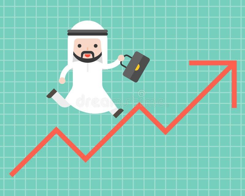 Netter arabischer Geschäftsmann, der oben auf Pfeil, Geschäftslage c läuft lizenzfreie abbildung