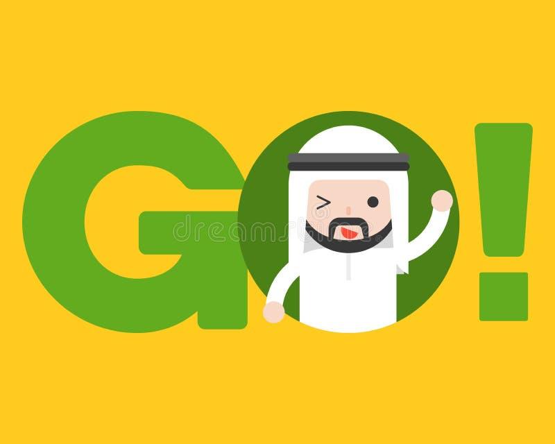 Netter arabischer Geschäftsmann gehen herein Alphabet, Geschäftslage halten g stock abbildung