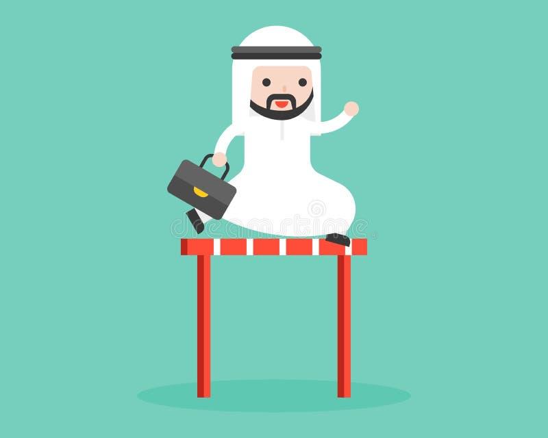 Netter arabischer Geschäftsmann springen kreuzen überwindt vorbei Illustration, busi vektor abbildung