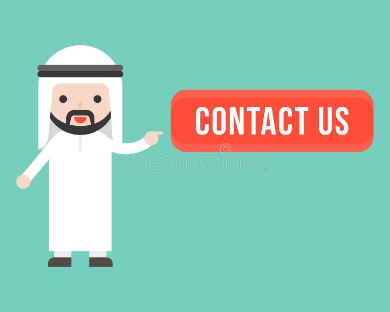 Netter arabischer Geschäftsmannpunkt am Kontakt wir Knopf, Geschäft rohes m lizenzfreie abbildung