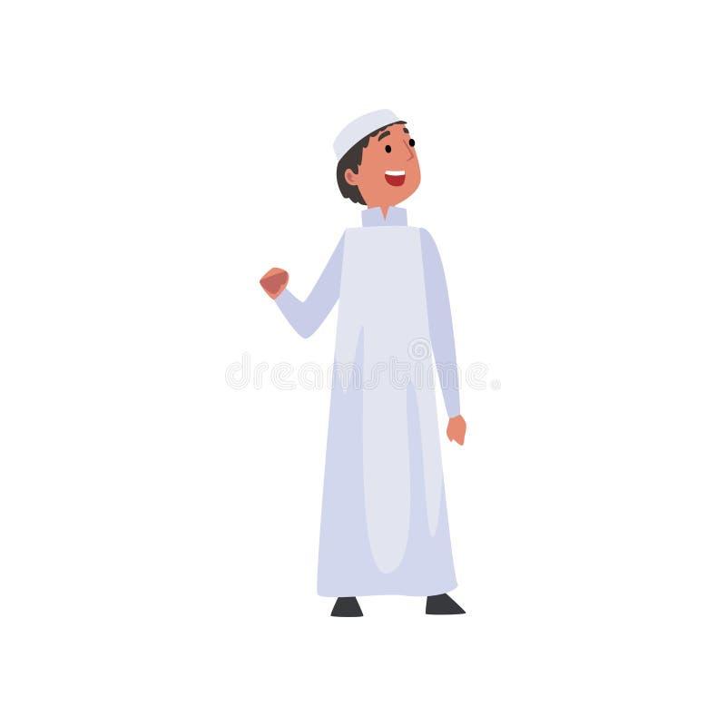 Netter arabischer Junge in der weißen traditionellen moslemischen Kleidungs-Vektor-Illustration stock abbildung