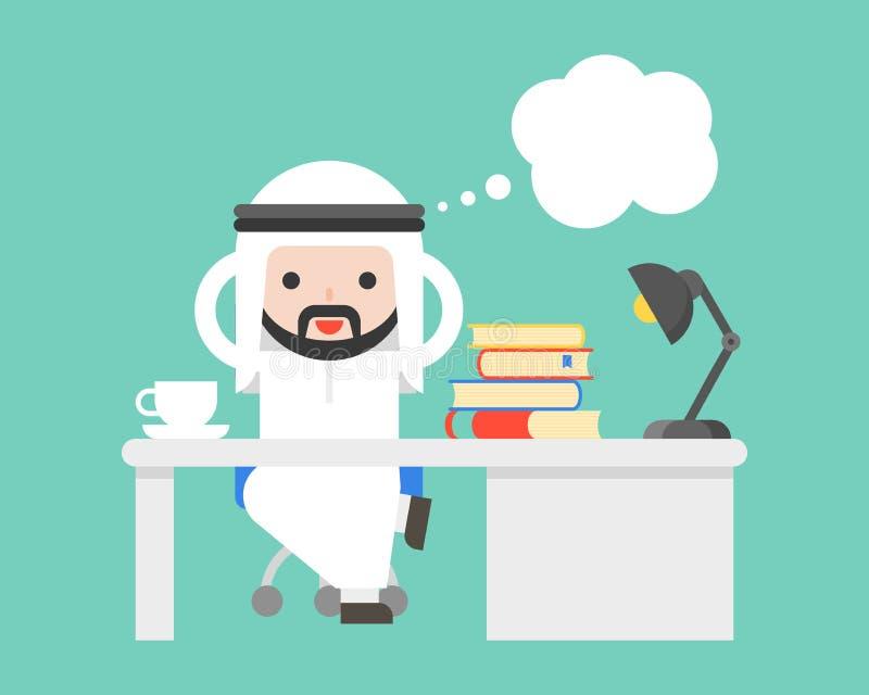 Netter arabischer saudischer Geschäftsmann, der am Büro und an der leeren Blase denkt vektor abbildung