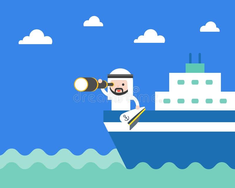 Netter arabischer saudischer Geschäftsmann mit Monocular auf Schiff im Meer, s stock abbildung