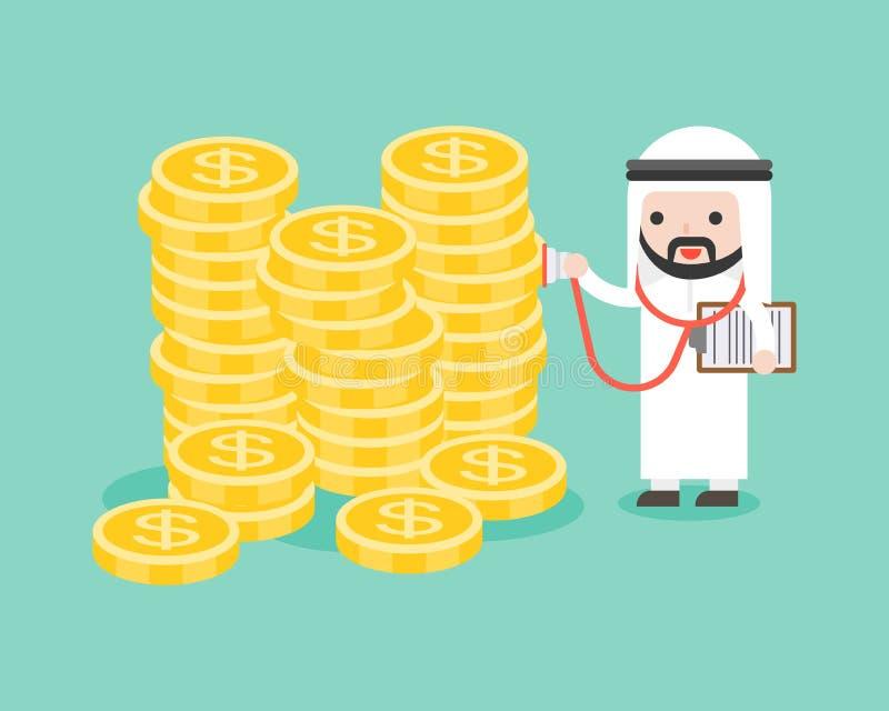 Netter arabischer saudischer Geschäftsmann unter Verwendung des Stethoskops Stapel von m überprüfend stock abbildung