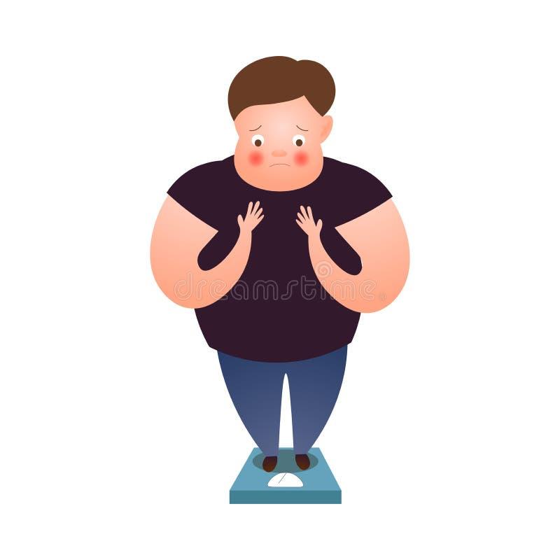 Netter Aufenthalt des dicken Mannes auf Gewichtsskalen zu Hause lizenzfreie abbildung