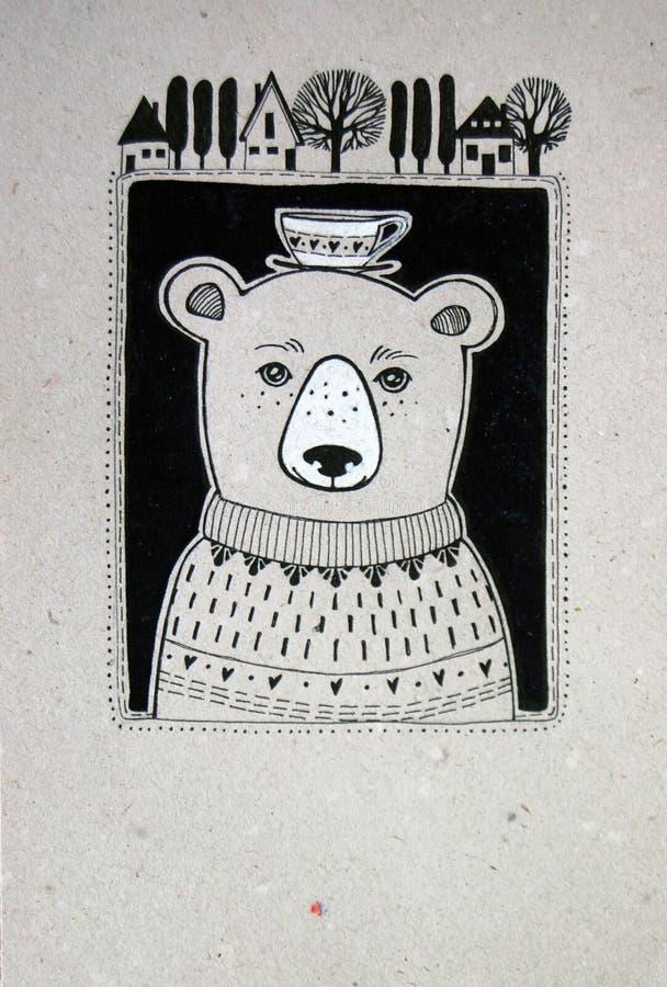 Netter Bär mit Schale auf seinem Kopf stockfotografie