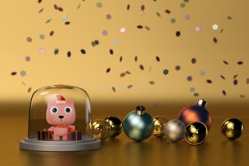 Netter Bär mit Weihnachtsball-Goldhintergrund Abbildung 3D vektor abbildung