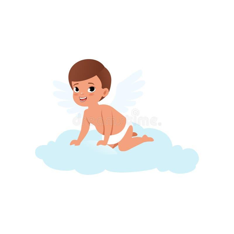 Netter Baby Amorcharakter, der auf einer Wolke, glückliche Valentinsgruß-Tageskonzeptvektor Illustration sitzt vektor abbildung