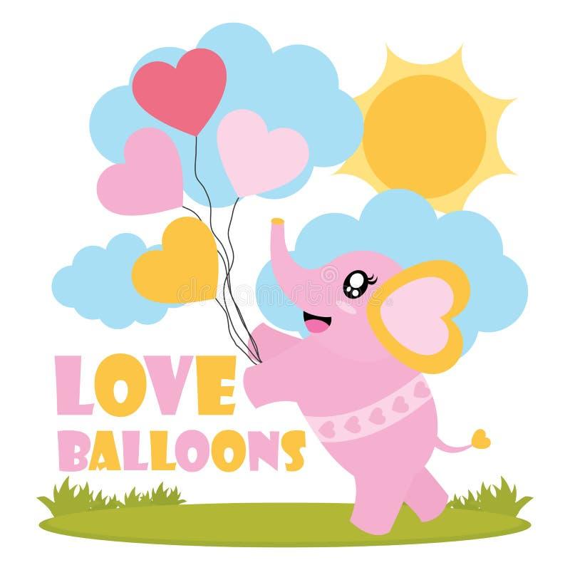 Netter Babyelefant holt Liebesballon-Karikaturillustration für glückliches Valentinsgrußkartendesign lizenzfreie abbildung