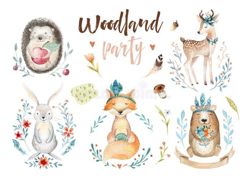 Netter Babyfuchs, Rotwildtierkindertagesstättenkaninchen und Bär lokalisierten Illustration für Kinder Forestdrawing Aquarell boh lizenzfreie abbildung