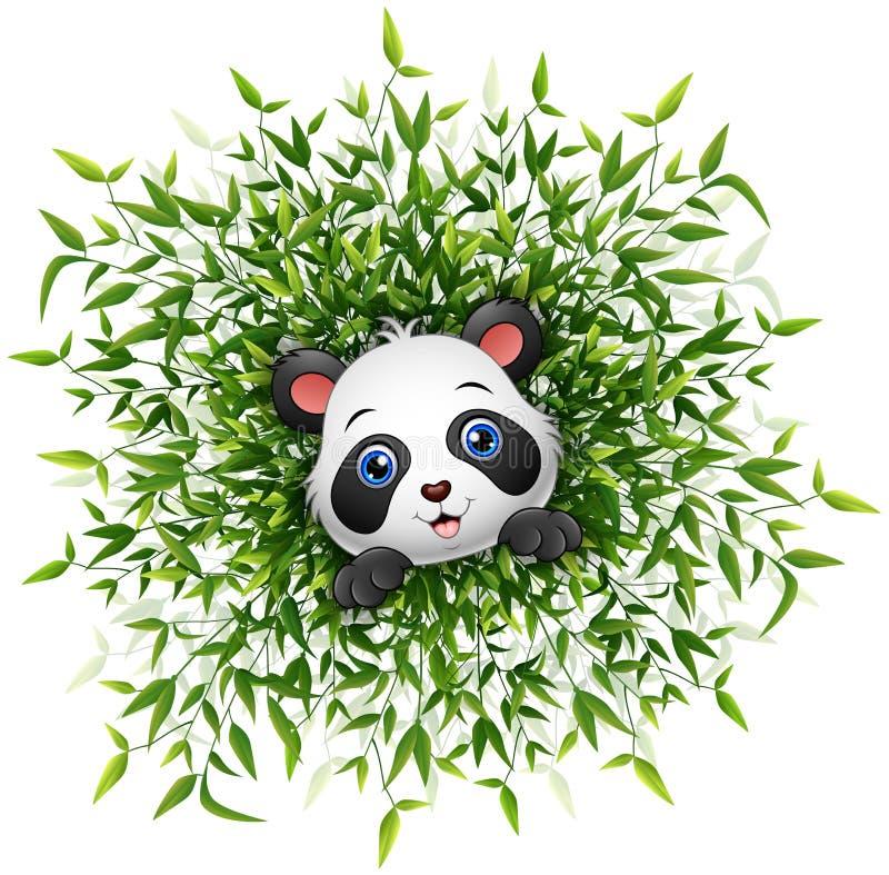 Netter Babypanda, der mit vielen Bambusblattweißhintergrund lächelt lizenzfreie abbildung
