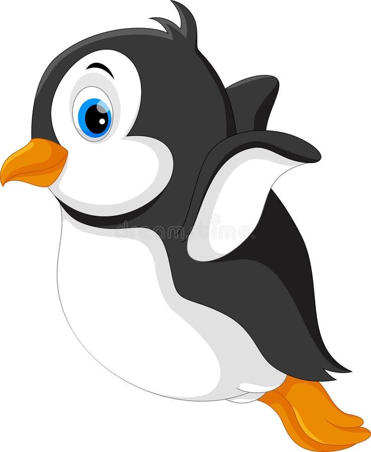 Netter Babypinguin springen vom Schnee zum kalten Meer stock abbildung