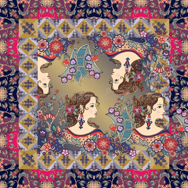 Netter Bandanadruck mit schönen Porträts von Mädchen mit Blumen stock abbildung