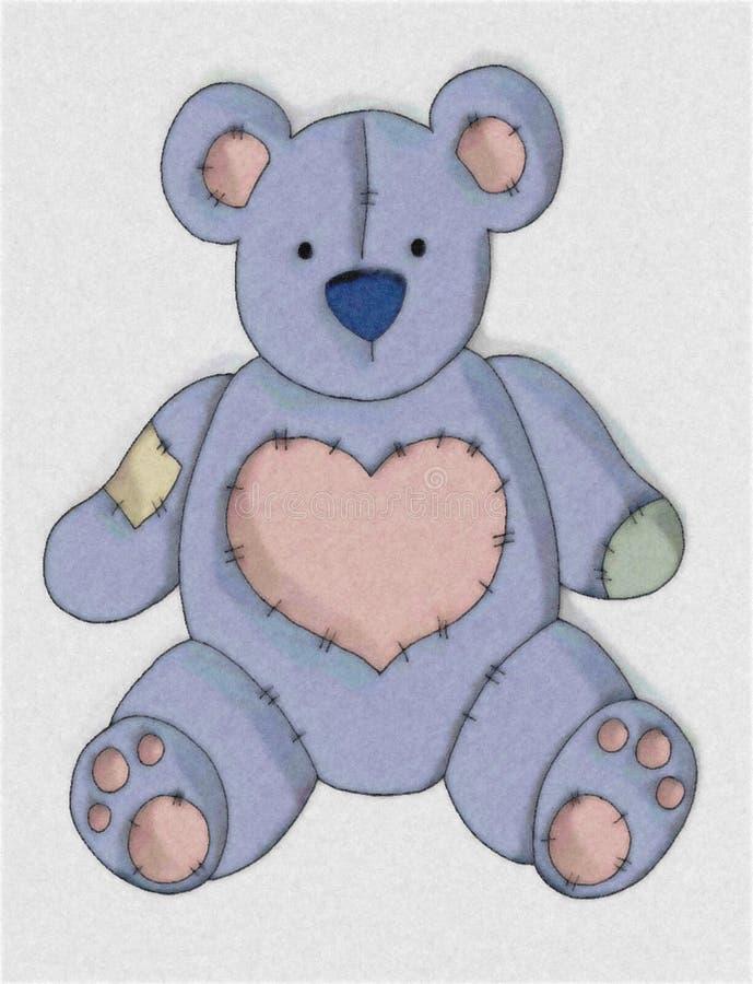 Netter blauer Land-Teddybär stock abbildung