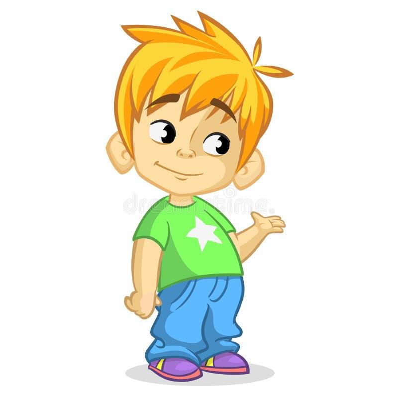 Netter blonder wellenartig bewegender und lächelnder Junge Vektorkarikaturillustration eines Jungendarstellens lizenzfreie abbildung