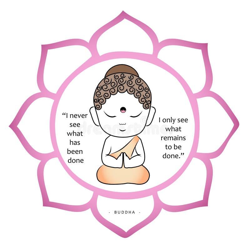 Netter Buddha innerhalb eines heiligen Lotos mit inspirierend Zitat vektor abbildung