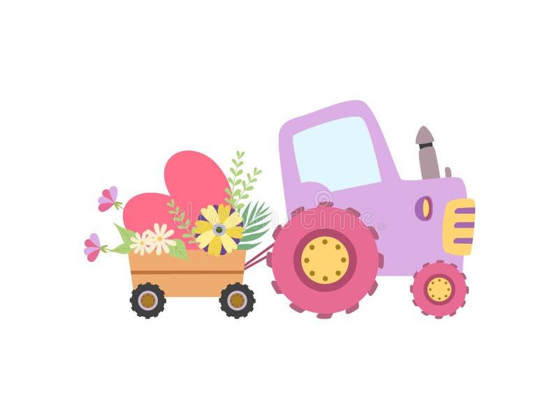 Netter bunter Traktor mit dem Wagen voll von der Blumen-Vektor-Illustration vektor abbildung