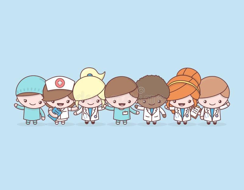 Netter chibi kawaii Charakter-Berufsatz Mannschaftsärzte des medizinischen Personals des Krankenhauses auf blauem Hintergrund lizenzfreie abbildung