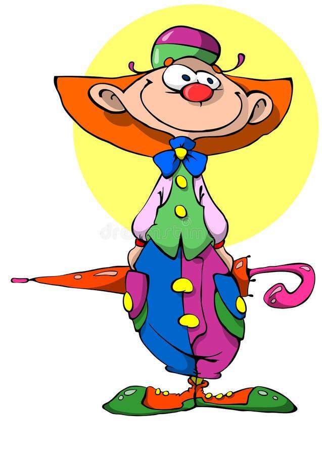 Netter Clown mit Regenschirm stockfotos