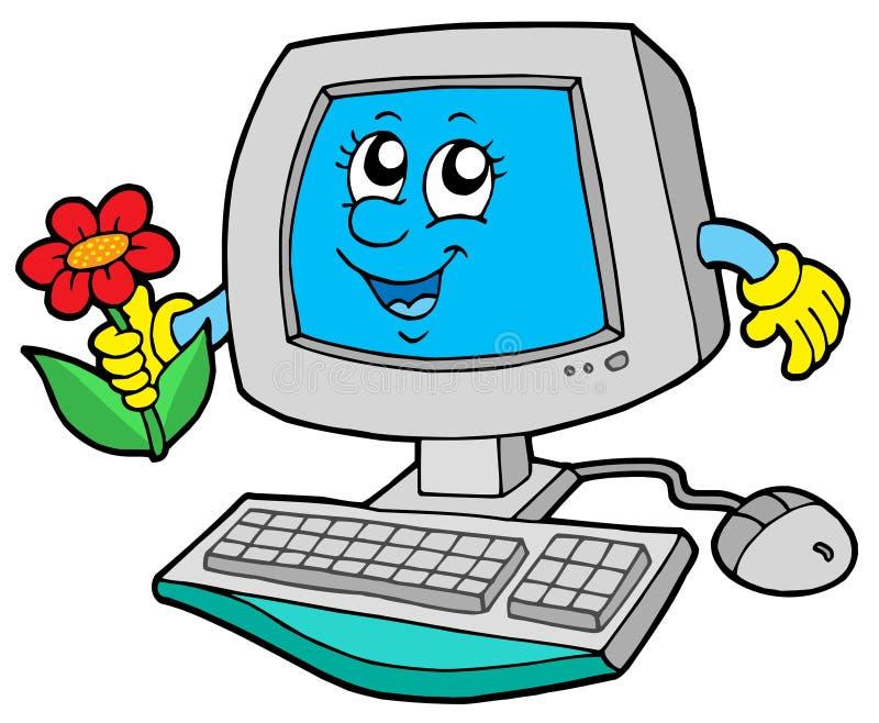 Netter Computer mit Blume stock abbildung