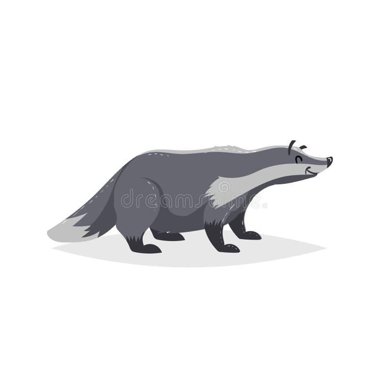 Netter Dachs der Karikatur Forest Europe- und Nordamerika-Tier Ebene mit modischem Design der einfachen Steigungen vektor abbildung
