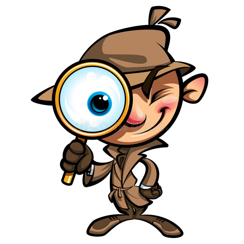 Netter Detektiv der Karikatur forschen mit braunem Mantel und Augenglas nach lizenzfreie abbildung