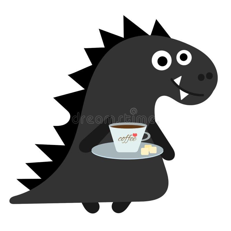 Netter Dino-Junge der Zeichentrickfilm-Figur mit Kaffee Netter Dino-Slogan des Dinosauriers Skizzenschwarzes Dino Karikaturartfah vektor abbildung