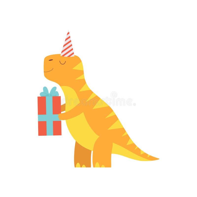 Netter Dinosaurier in der Partei-Hut-Holding-Geschenkbox, entzückender Dino Character, glücklicher Geburtstagsfeier-Gestaltungs vektor abbildung
