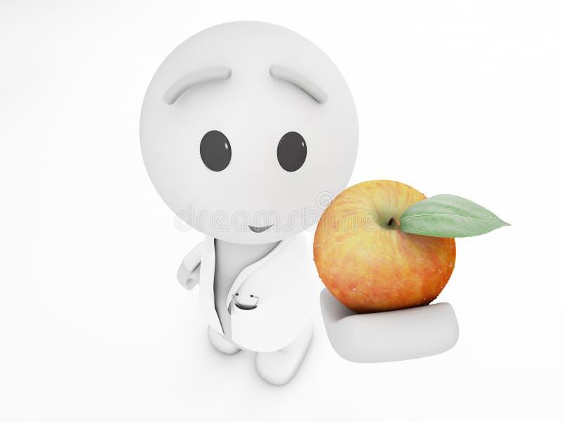 Netter Doktor 3d schlägt einen Apfel vor stock abbildung