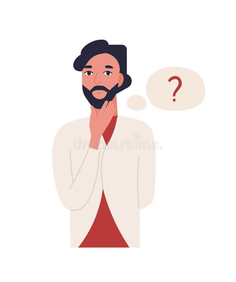 Netter durchdachter bärtiger Mann lokalisiert auf weißem Hintergrund Lustiger nachdenklicher Kerl- und Gedankenballon mit Frageze lizenzfreie abbildung