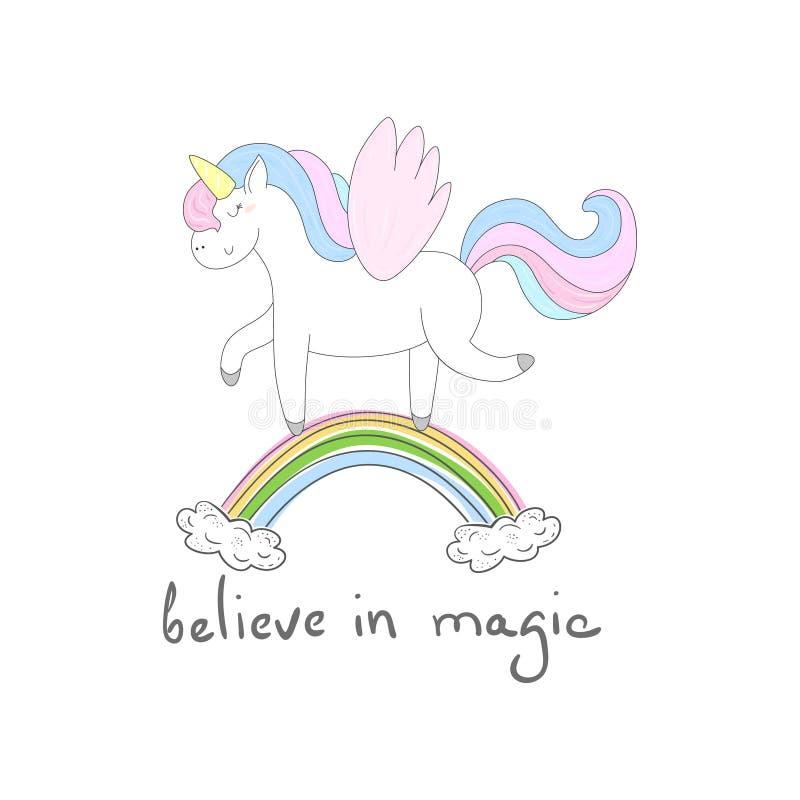 Netter Einhorndruck für Kinder glauben Sie an magische Karte lizenzfreie abbildung