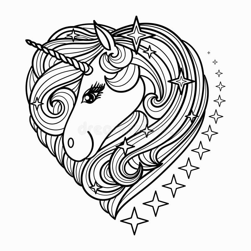 Netter Einhornkopf mit einer langen Mähne Schwarzweiss-Vektorillustration f?r Malbuch lizenzfreie abbildung