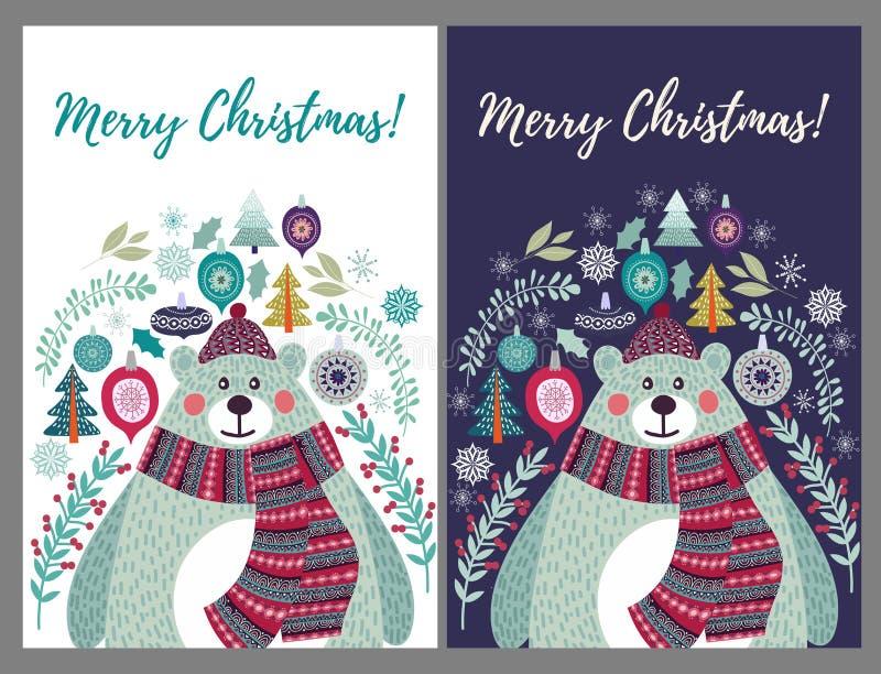 Netter Eisbär in einem Hut und in einem Schal Stellen Sie von zwei Wahlen für Weihnachtskartenschablonen im Stil der flachen Gekr lizenzfreie abbildung