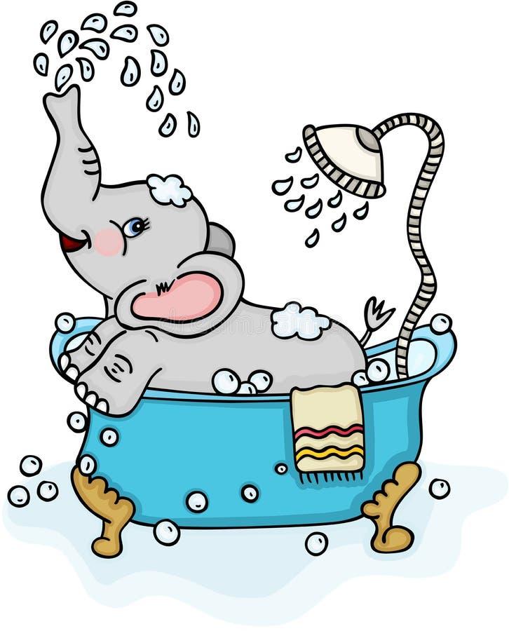 Netter Elefant, der ein Bad nimmt lizenzfreie abbildung