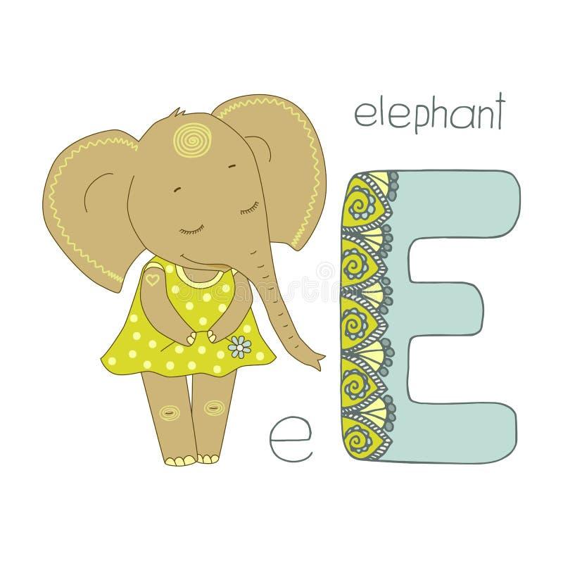 Netter Elefant mit geschlossenen Augen im gelben Kleid mit Erbsen stock abbildung