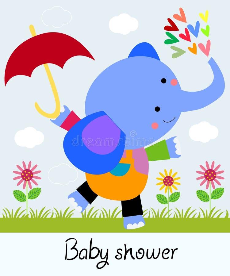 Netter Elefant mit Regenschirm vektor abbildung