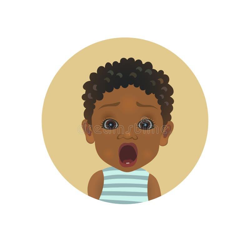 Netter entsetzter afroer-amerikanisch Baby Emoticon Erschrockenes afrikanisches Kind-emoji Ängstlichkleinkindsmiley Erschrockener stock abbildung