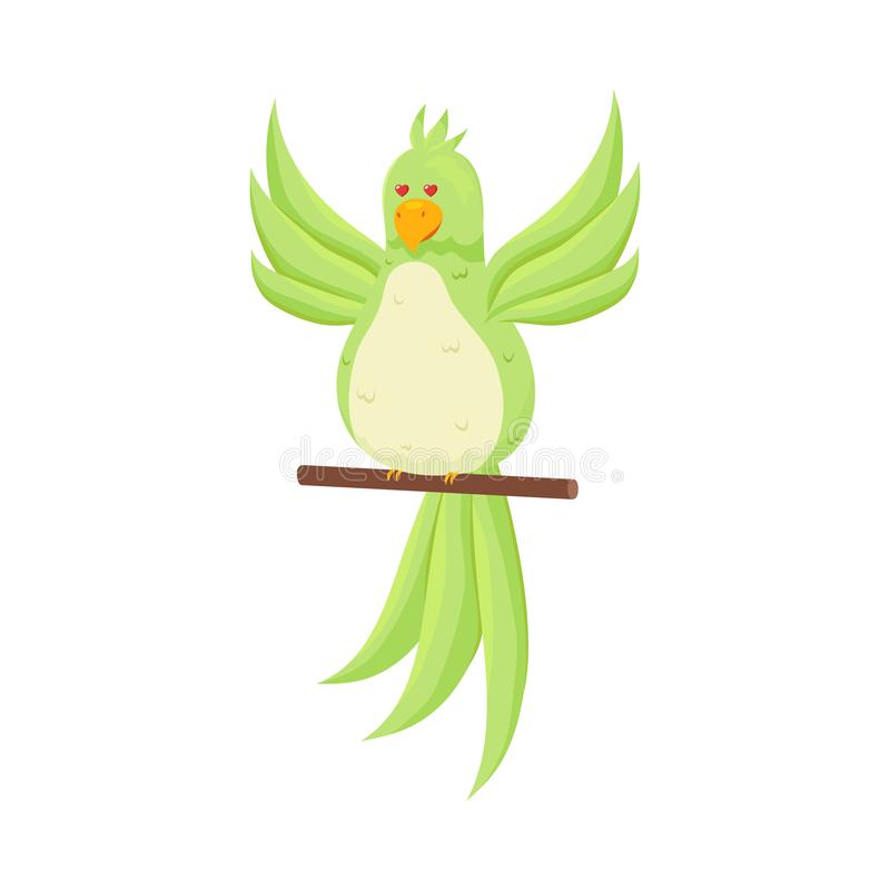 Netter entzückender grüner glücklicher inlove Papageienaufenthalt auf Stock lizenzfreie abbildung