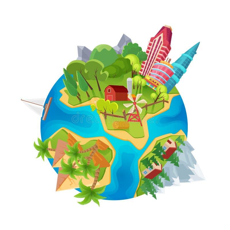 Netter Erdplanet mit Stadtwolkenkratzern, Bauernhof, Wüstenpyramiden und Gebirgskarikaturentwurfsvektorillustration vektor abbildung
