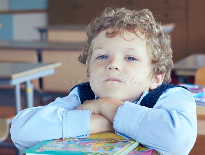 Netter ernster kaukasischer junger Schüler, der auf einen Stapel von Büchern am Klassenzimmer liegt lizenzfreie stockbilder