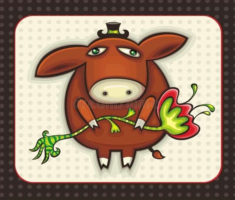 Netter Esel mit Blume. lizenzfreie abbildung