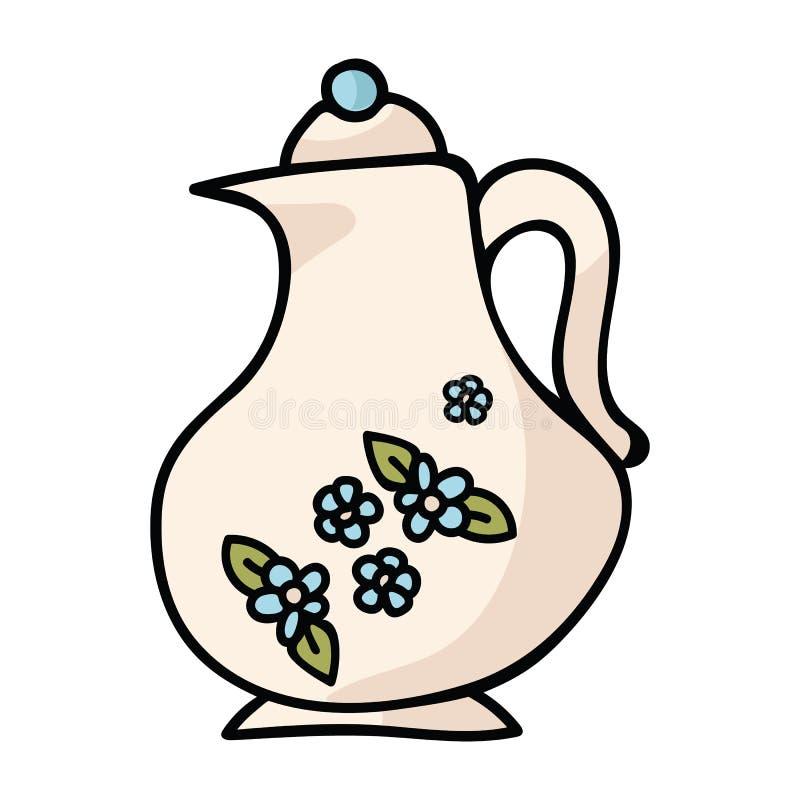 Netter fantastischer Teekannenkarikaturvektorillustrations-Motivsatz stock abbildung