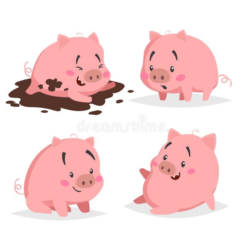 Netter Ferkelsatz Kleines Schwein in der Pfütze, überrascht, sitzend und entspannen sich Entwurfs-Viehsammlung der Karikatur flac vektor abbildung