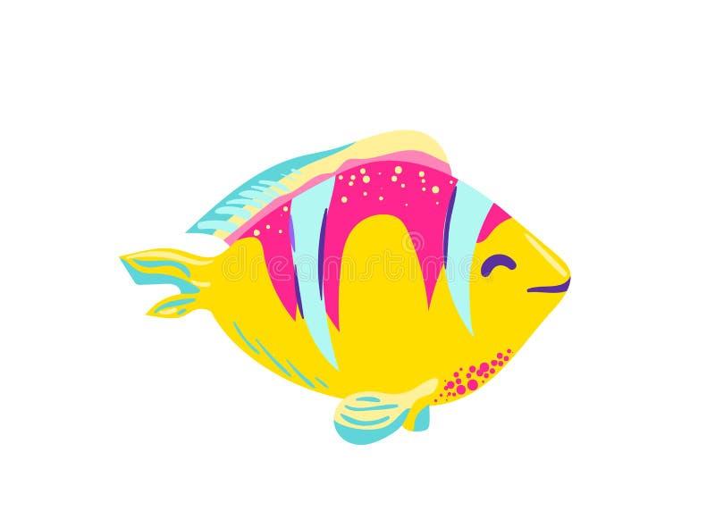 Netter Fischclown-Karikaturvektor stock abbildung
