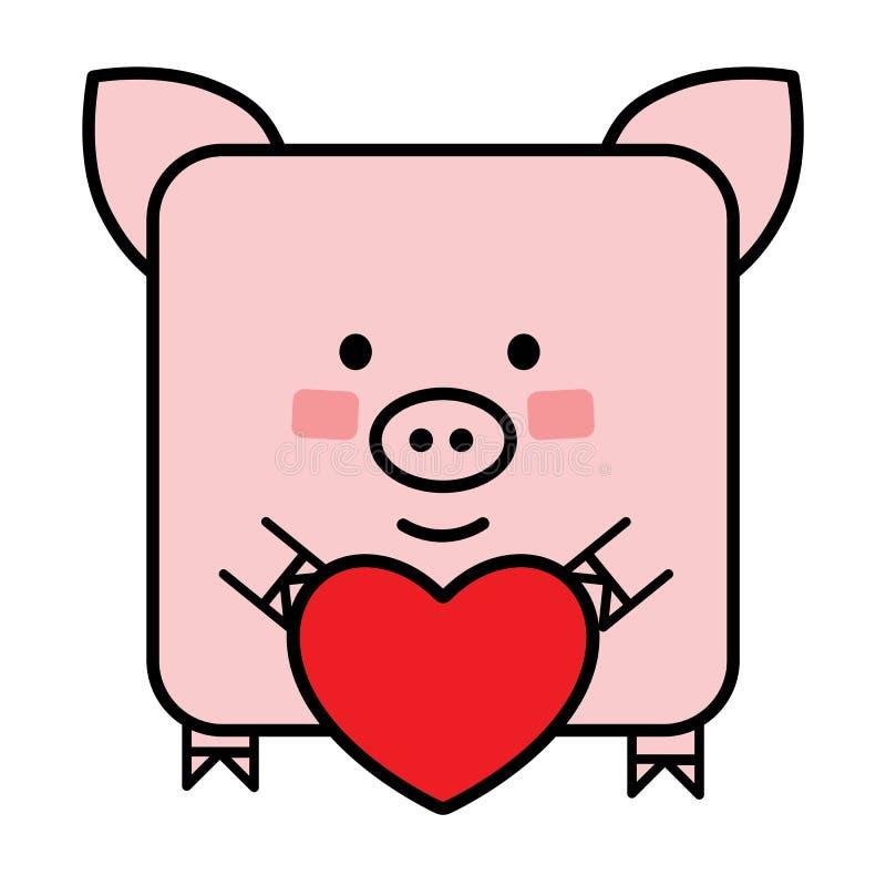 Netter flacher Schwein Emoticon mit einem Herzen lizenzfreie abbildung