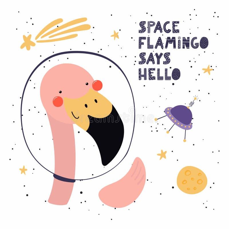 Netter Flamingo im Raum stock abbildung