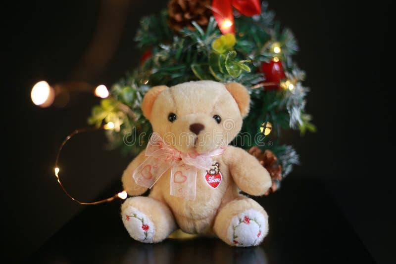 Netter flaumiger Teddybär mit Mini Christmas-Baumdekoration auf Hintergrund des dunklen Schwarzen lizenzfreies stockfoto