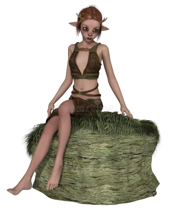 Netter Forest Elf oder Faun, sitzend auf einem Felsen vektor abbildung